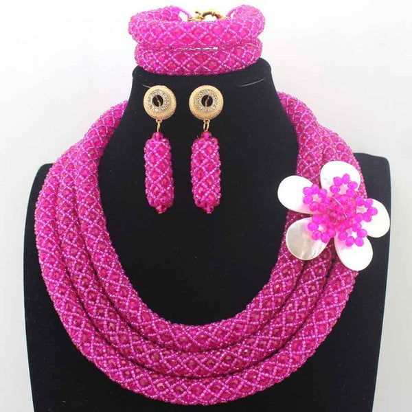 Luxury New Fuschia Pink African Beads Wedding Crystal Necklace Set Indian Nigerian Women Jewelry Sets Free Shipping W13677