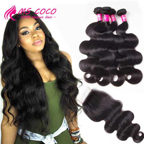 Brazilian Virgin Hair With Closure 4 Bundles 100% Human Hair Bundles With Closure Body Wave Peerless Virgin Hair With Closure