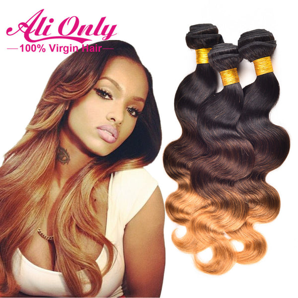 Ombre Brazilian Hair Weave Bundles Body Wave T1B/4/27 Ombre Human Hair Wave 3pc/Lot  12-26inch Cheap Brazilian Virgin Hair Style