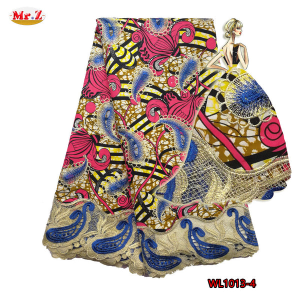Mr.Z 2017 African Lace Fabric 6Yads Nigerian Cotton Guipure Wax Fabric With Stones Embroidered Tissu Africain Guipure Wax Fabric