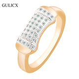 GULICX Brand Fashion 2016 Eternity Band for Women  Gold Platinum Plated Ring Pave Crystal CZ Zircon Engagement Jewelry R270