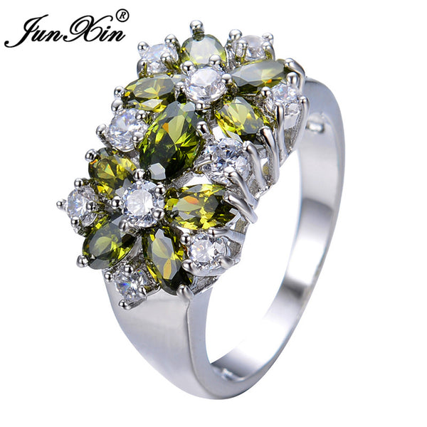 JUNXIN Unique Design Peridot Rings For Men And Women White Gold Filled Wedding Jewelry Vintage Rings For Party