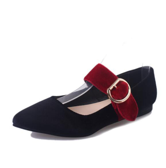 Fashion Women Shoes Retro Woman Flats high quality suede Casual Comfortable pointed toe Rubber belt buckle Women Shoes WY60