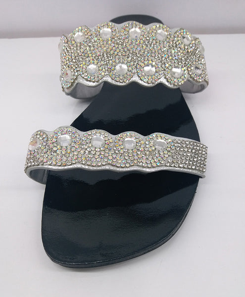 Sliver Color Rhinestone Wedding Shoes Low Heels Sandals Slipper Shoes for Women New Arrival Nigerian Dress Wedding Shoes Woman