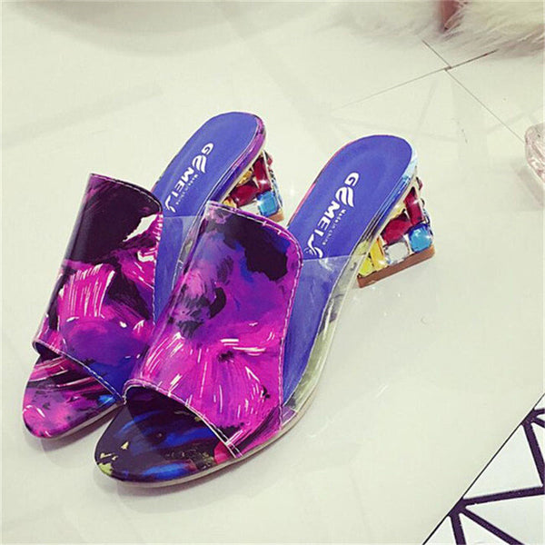 slip on - Fashion accessories ,clothing, jewelry, 2017 Summer Rhinestone Women Sandals Stone Print Slippers Fashion Chunky Heel Slides Peep Toe Shoes Woman Plus Size 41 WSS153 - clothing, Gorgeous things online - gorgeous things online