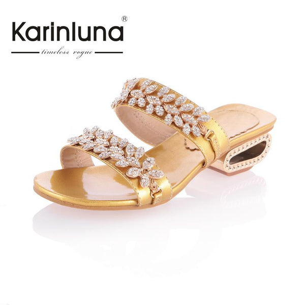 Big Size 32-43 Rhinestone Bohemia Style Women Slides Fashion Strange Heels Top Heel Toe Lady's Outdoor Beach Shoes Silver/Gold