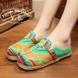 Vintage Embroidery Women Slippers Casual Linen Cotton Floral Handmade Ladies Canvas Walking Hemp Soft Shoes Zapato Mujer