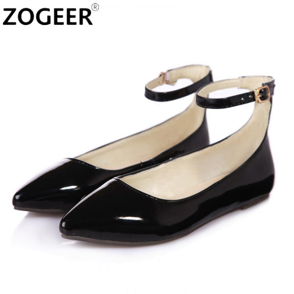 ZOGEER Big size 43 New Fashion Ankle Strap Women Flats Patent  Leather Candy Color Pointed Toe Shallow Casual Women Shoes