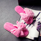 bedroom wear - Fashion accessories ,clothing, jewelry, 2016 New Winter Warm At Home Women's Slippers Comfortable Soft Plush Indoor Shoes With Big Bowknot Female House Skid Slippers - clothing, Gorgeous things online - gorgeous things online