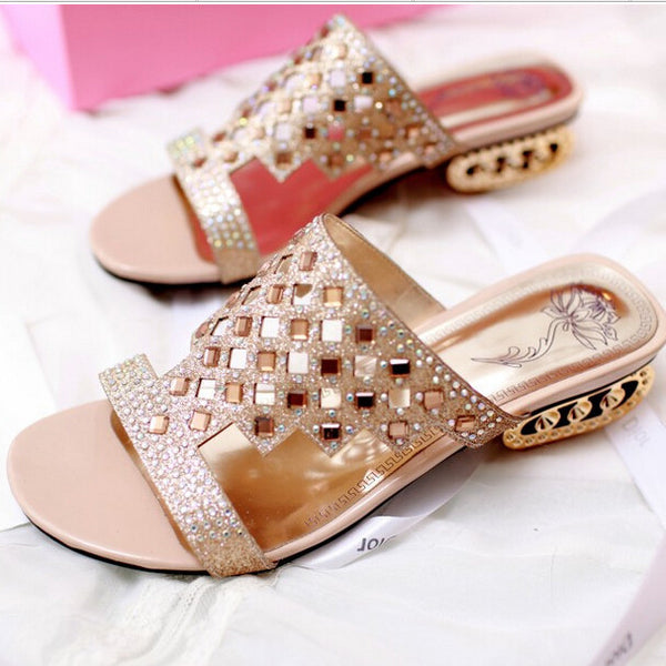 LIN KING New Design Pierced Rhinestone Women Slippers Bohemia Glitter Slides Fashion Square Heel Summer Party Slippers Big Size