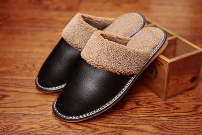 Genuine Leather Couple's Winter Indoor Slippers Warm and Comfortable Anti-Slip Home fur Shoes for Men and Women
