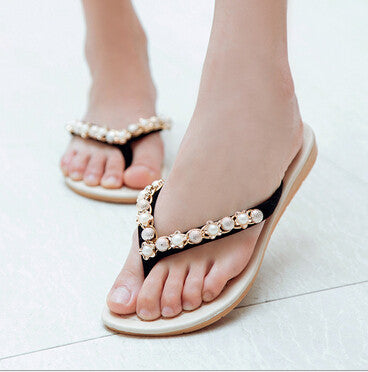 2017 New Summer Style Women Fashion New Female Pearl Diamond Sandals Slippers Slip Angle .DFGD-140