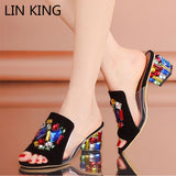 LIN KING Classic Colorful Rhinestone Peep Toe Women Summer Sandals Cowhide Medium Square Heel Beads Lady Office Career Slippers