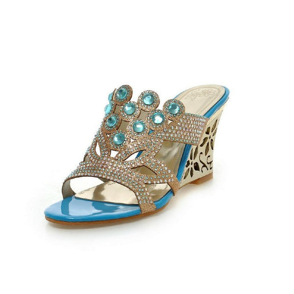 hot selling top quality sweet cut outs rhinestone women soft shoes big size  32-43 fretwork heels high wedges summer sandals