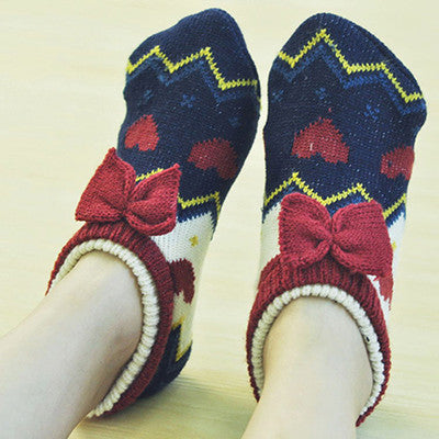 Apple 2017 new Hand knitted men&women home slippers Crochet handmade warm Household anti-skit female flooring indoor shoes