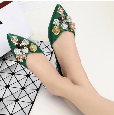 Pointed Toe Covering Slippers Female Summer Rhinestone Paillette Flower Fashion Flat Heel Sandals Fashion All Match Slippers