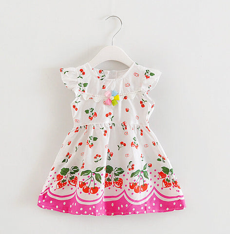 Baby girls cherry print Dress children clothes Fashion New Summer Floral fruit cherry printed baby Dress with pearl flower