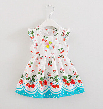 baby clothes - Fashion accessories ,clothing, jewelry, Baby girls cherry print Dress children clothes Fashion New Summer Floral fruit cherry printed baby Dress with pearl flower - clothing, Gorgeous things online - gorgeous things online