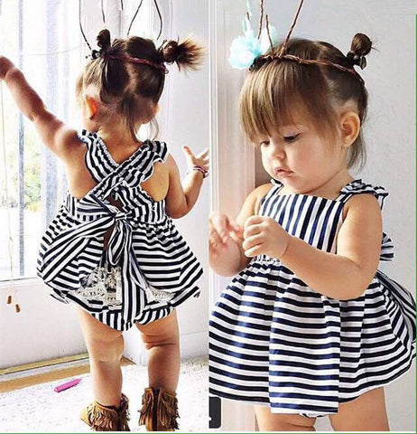 2017 New Girls Summer Summer Cotton Vest explosion tide baby sling child female baby striped Navy Skirt Dress Set