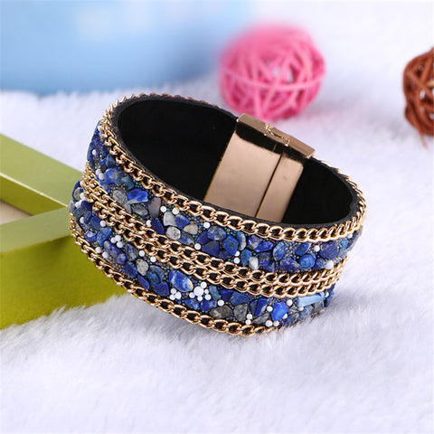 Bohemian Turquoise Stone Bangle Bracelets For Women Fashion Jewelry Gold Plated Magnetic Clasp Wide Leather Cuff Bracelet