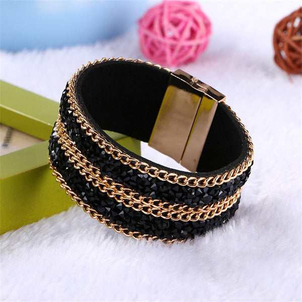 bracelet - Fashion accessories ,clothing, jewelry, Bohemian Turquoise Stone Bangle Bracelets For Women Fashion Jewelry Gold Plated Magnetic Clasp Wide Leather Cuff Bracelet - clothing, Gorgeous things online - gorgeous things online
