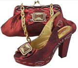 green color african women matching italian shoe and bag set decorated with appliques high quality matching italian shoes and bag