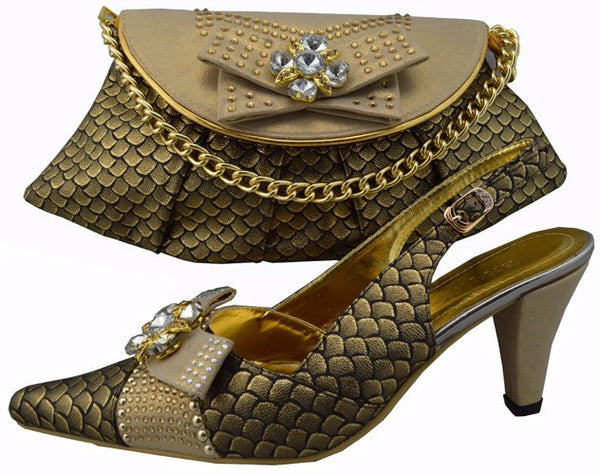 Most Popular Italian Shoe With Matching Bags Italian African Wedding Shoes And Bag Sets Women Shoes And Bag To Match 1308-21