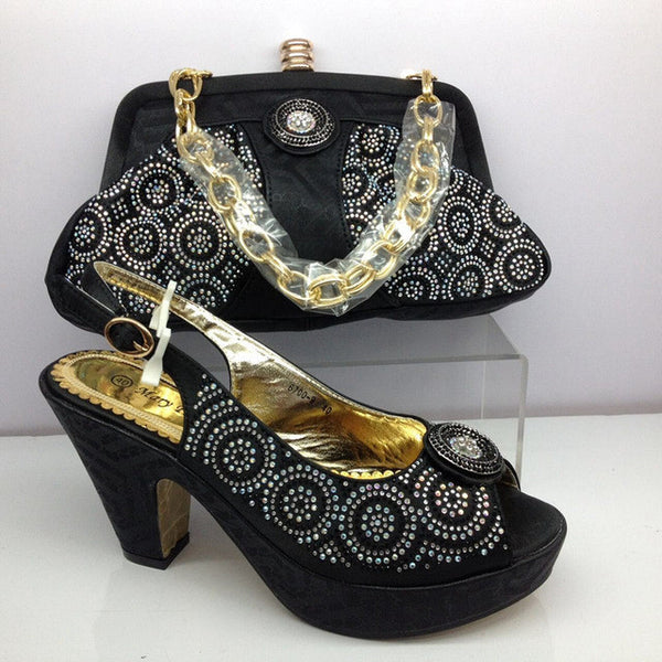 Africa Style Ladies Shoes And Bag Set Italian Desgin High Heels Shoes And Bag Set For Party Promotion Price Size 38-42 BL135C