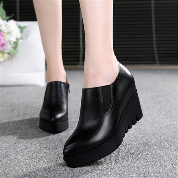 Genuine Leather Women's Wedges Shoes New Arrival 2017 Women's Casual Platform High Heels Shoes Wholesales Pointed Toe Shoes
