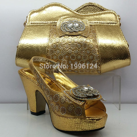 Gold Wedding Shoes and Bag Set with Rhinestone High Quality Matching Italian Shoes and Bag Set Nigerian Party Shoes and Bag Sets