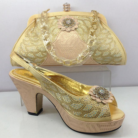 Hight quality italian shoe with matching bag matching shoes and bags for wedding african shoe and bag to match shoe and bag sets