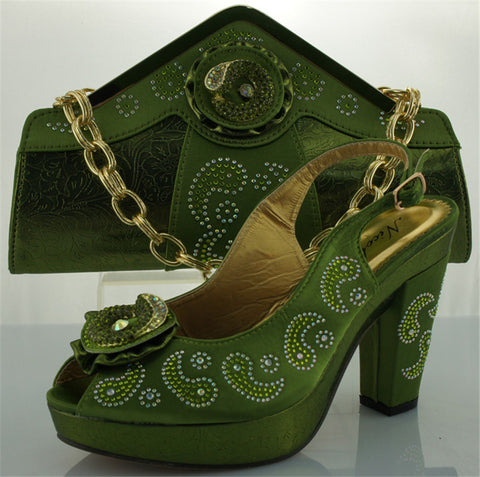 Blue and green ladies shoe and bag to match set for wedding and party heel height 10cm italian shoe with matching bag