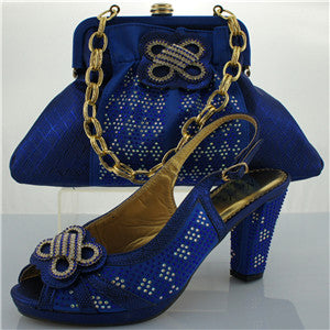 Fashion Blue Shoes and Bag To Match Italian High Quality Matching Italian Shoes and Bag Set Decorated with Flower and Diamonds