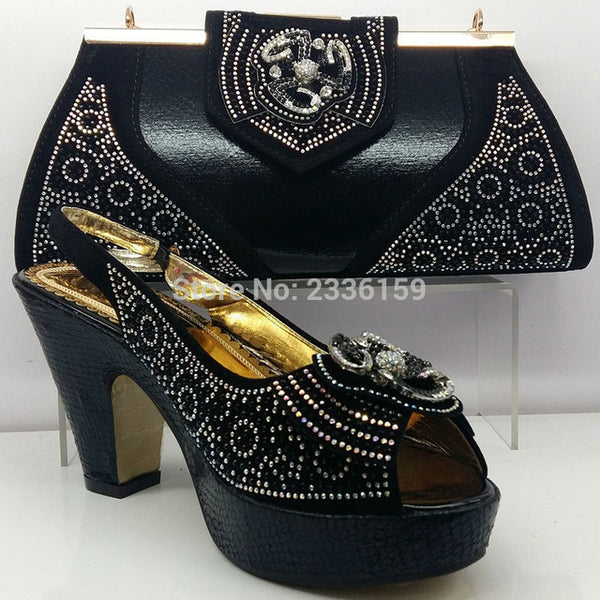 Italy Shoe and Bag Set In Black Italian Shoe Bag Set Size 38-42 Women Shoe and Bag To Match Heel Height 8cm Shoe and Bag Set