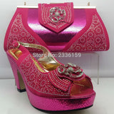 Pink Italian Shoe with Matching Bag New Design Wholesale Price Italian Shoe Bag Set for Wmoen's Party and Wedding African Women