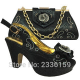 Fashion Italian shoe and matching bag for african wedding heel height 10cm italian shoe bag set shoe and matching bag set blue