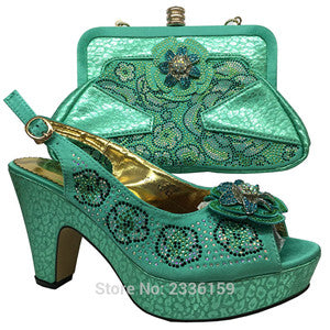 New Matching Italian Shoes and Bag Set Yellow Color Open Toe Heels African Shoes and Bag Set Matching Shoe and Bag Set for Women