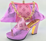 ME3323 Free shipping by dhl!! Woman shoes with matching bags sets PINK for party Fashion Italian shoes and bags set For Wedding