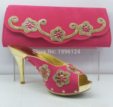 Shoes and Bag Pink Color African Women Matching Italian Shoe and Bag Set Decorated with Rhinestone Nigerian Shoes and Bag Set