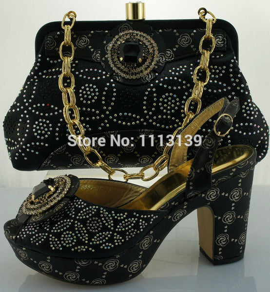 High quality African Fashion Black square heels Shoes and Matching Bags set for women evening dress, Italy Shoes and Bags ME0020