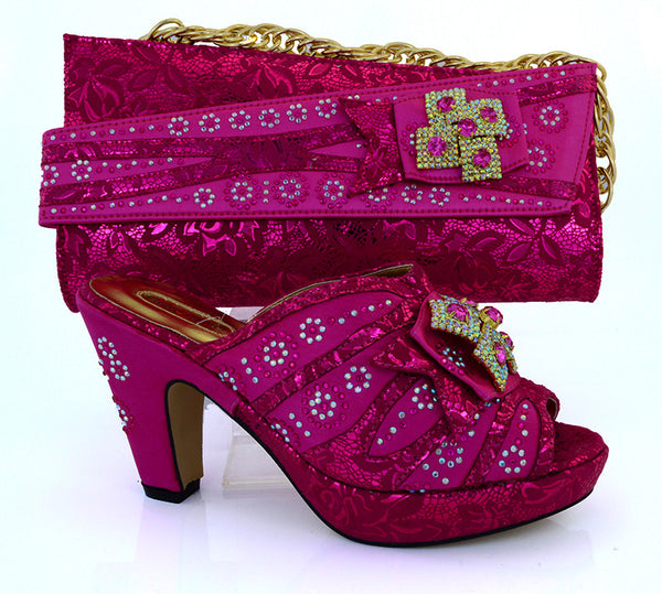 New Fuchsia Color Italian Shoe Bag Set African Wedding Shoe and Bag Sets Women Shoe and Bag To Match for Parties Hot Sales