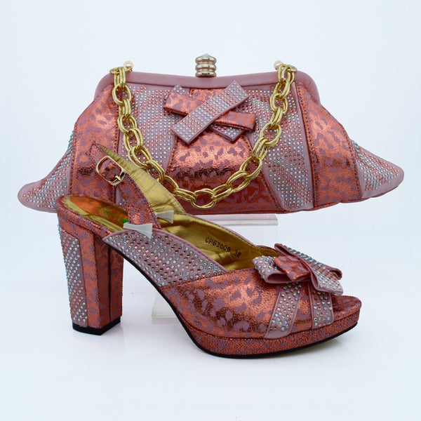 Fashion Italian Shoes With Matching Bags Set For Wedding And Party African Shoes And Bag Sets With Stones Women Pumps CP63008