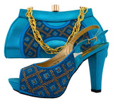 Green Color Shoes and Bag Set Italian Shoe with Matching Bag for Wedding Ladies African Women Matching Italian Shoe and Bag Sets