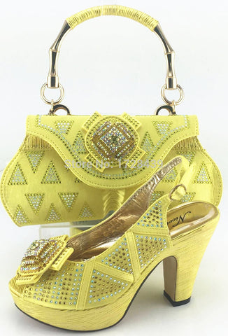popular Italian Shoes with Matching bags good quality fashionable shoes and bag set For lady! EJS7310-5