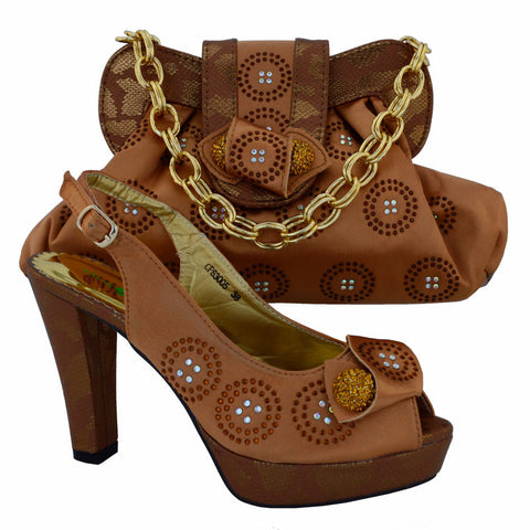 New Arrival Brown Color Ladies Shoe and Bag To Match Set Decorated with Appliques African Wedding Shoe and Bag Sets Italian Shoe