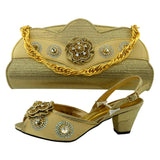 Italian shoes and bags matching set gold color flower rhinestone decoration small heel buckle srap free shipment female bag