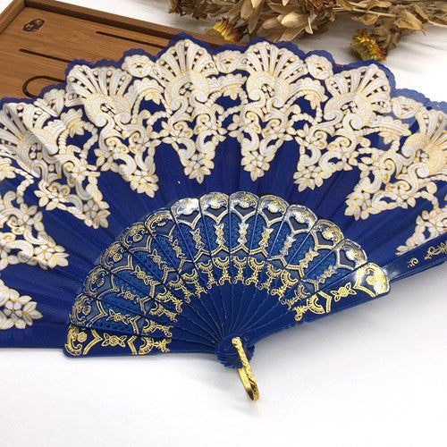 Free Shipping Edge Multi-Colors Fabric Floral Plastic Sequins Peacock Lace Elegant Hand Fans Wedding Favors and Gifts Dance Fan