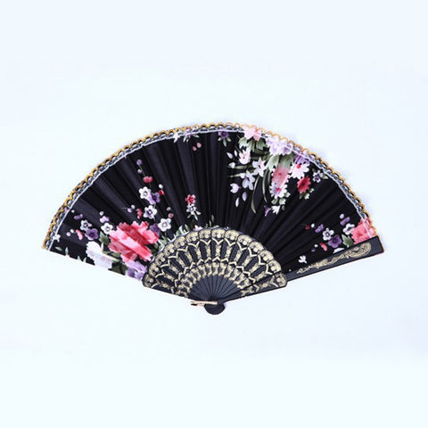 Multi-Color Summer Style Folding Hand Fan Fabric Floral Wedding Dance Favor Pocket Fan Wholesale H1
