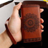 For Samsung S7 Case Luxury 3D Embossed Datura Flower Leather Flip Silicone Case for Samsung Note 5 S5 S6 S7 edge Case Cover Capa