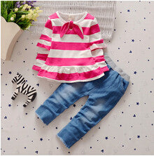 - Fashion accessories ,clothing, jewelry, BibiCola Spring Autumn children girls clothing sets stripe clothes bow tops t shirt jeans leggings pants baby kids 2pcs suit set - clothing, Gorgeous things online - gorgeous things online